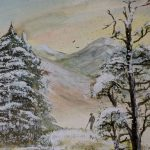 winterwandern mixed media auf aquarellpapier 32x24 cm