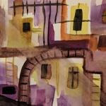 hinterhof aquarell <br>papier 23,5x15,5 cm