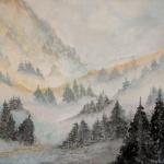 nebelwald aquarell <br> papier 31x41 cm