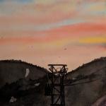 sunset fischbach aquarell <br>papier 23x31 cm