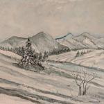 winterwiese aquarell <br>papier 31x41 cm